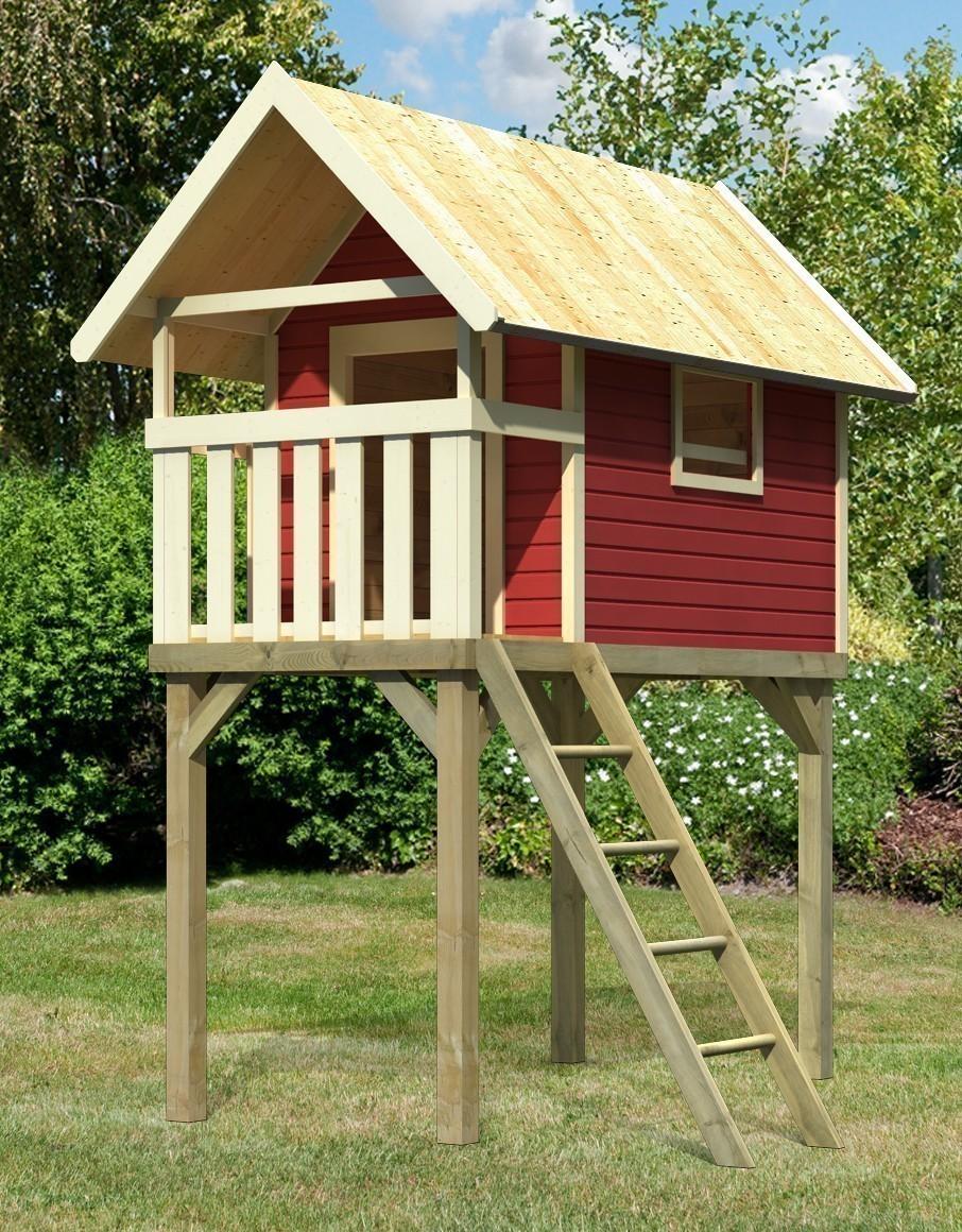 baumhaus stelzenhaus kinderspielsystem gernegro karibu rot bei. Black Bedroom Furniture Sets. Home Design Ideas