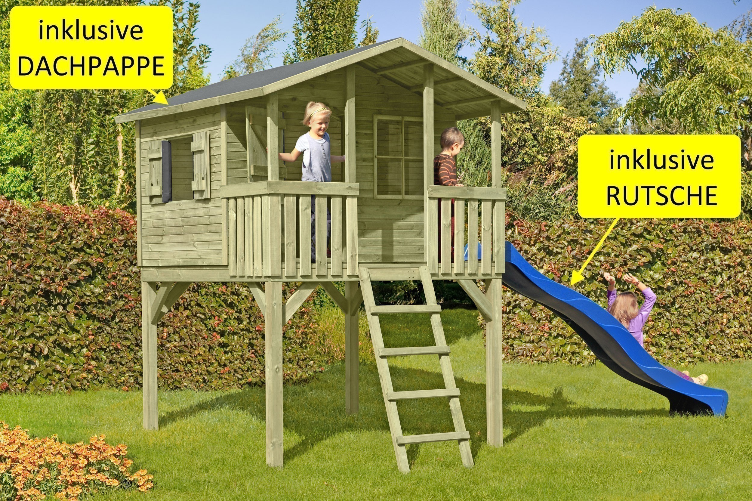 baumhaus stelzenhaus leon mit rutsche und dachpappe bei. Black Bedroom Furniture Sets. Home Design Ideas