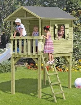 Baumhaus / Stelzenhaus Spielhaus Benny mit Dachpappe 150x240x300cm Bild 1