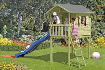 Baumhaus / Stelzenhaus Spielhaus Benny mit Dachpappe 150x240x300cm Bild 2