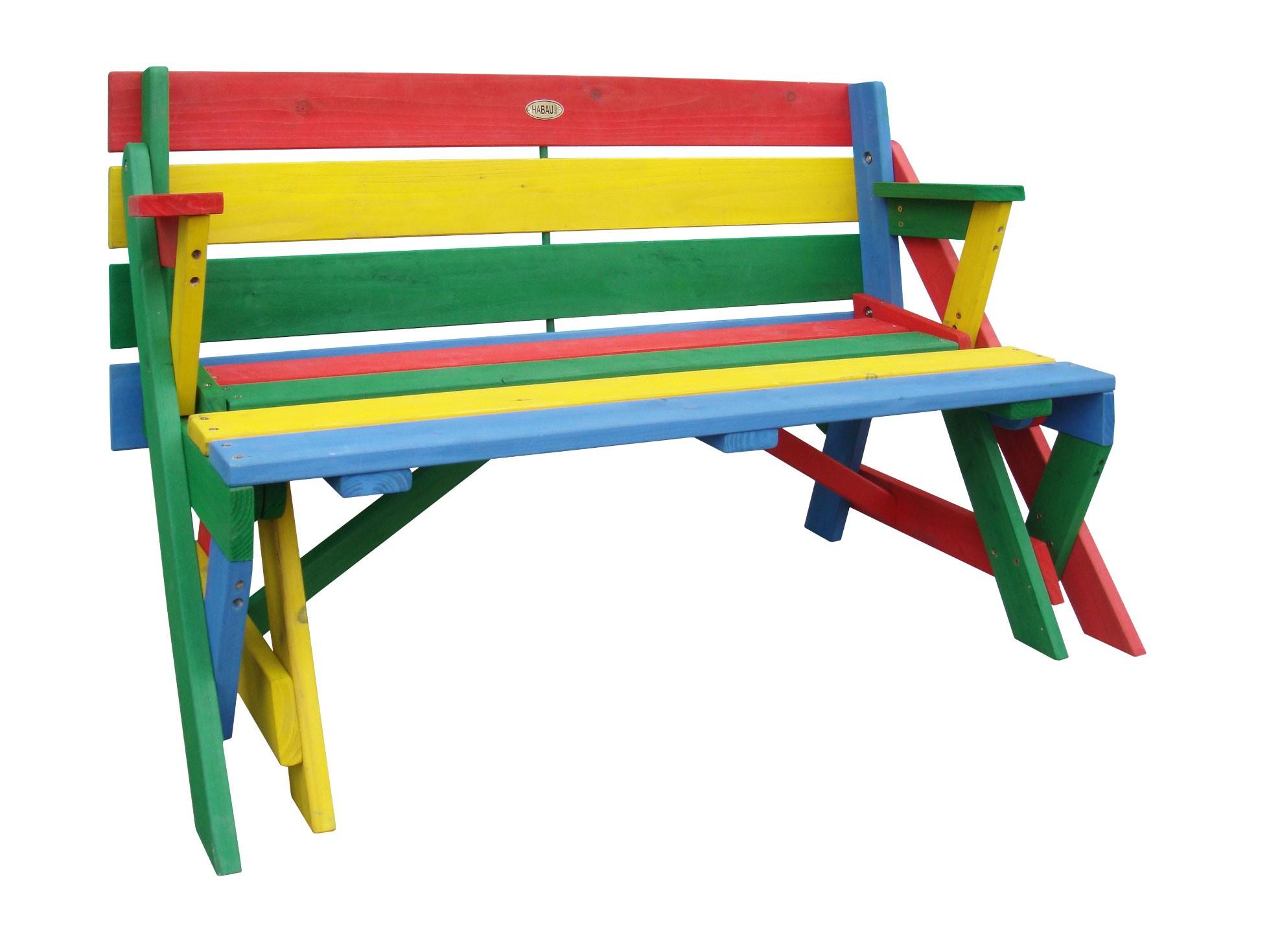kinder picknicktisch sitzbank habau farbig klappbar 2 funktionen bei. Black Bedroom Furniture Sets. Home Design Ideas