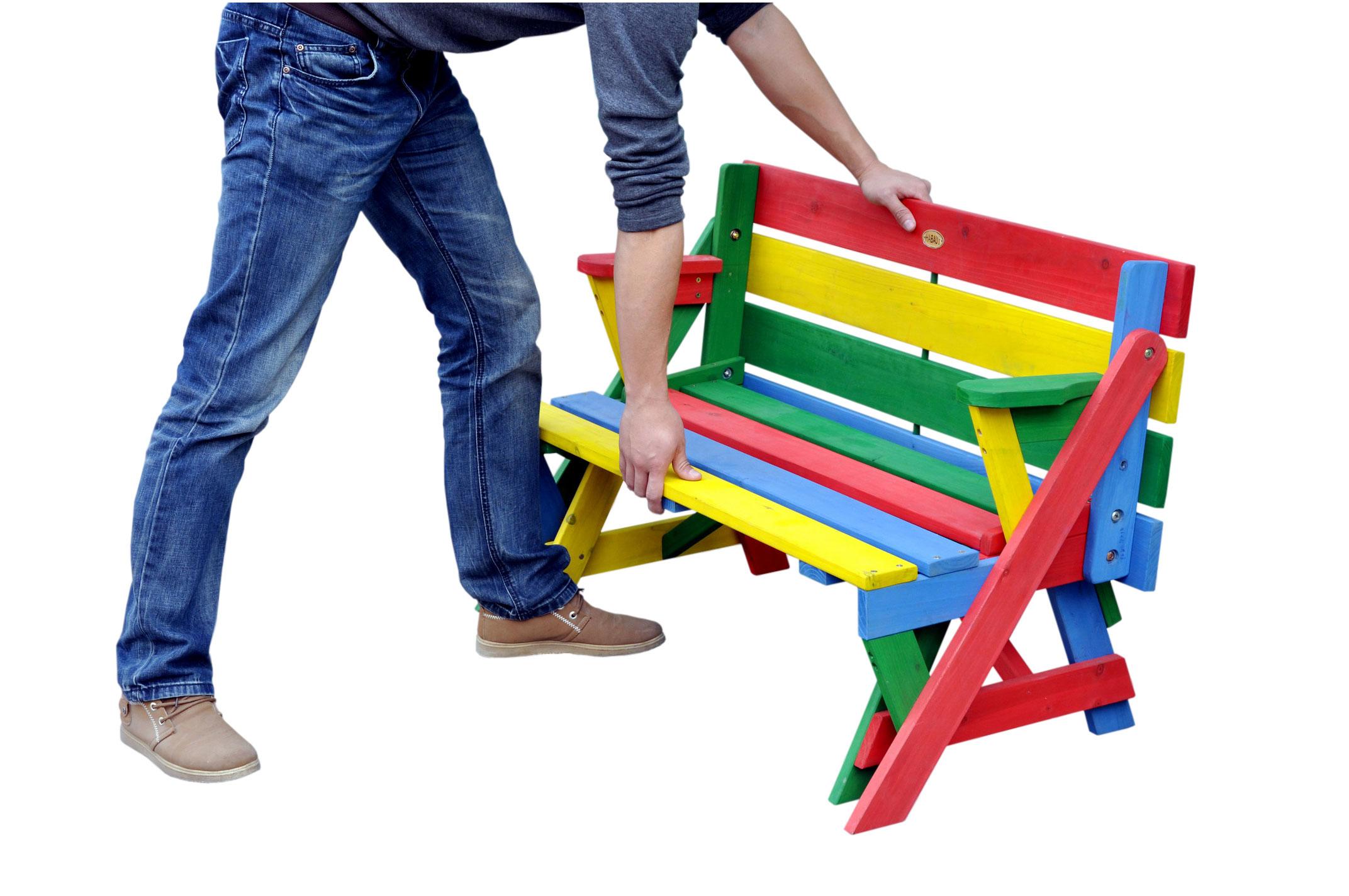 kinder picknicktisch sitzbank habau farbig klappbar 2. Black Bedroom Furniture Sets. Home Design Ideas