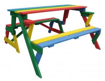 Kinder Picknicktisch / Sitzbank Habau farbig klappbar 2 Funktionen Bild 1