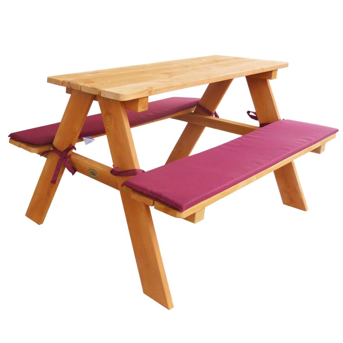 kinder sitzgruppe picknickbank habau mit polsterauflage. Black Bedroom Furniture Sets. Home Design Ideas