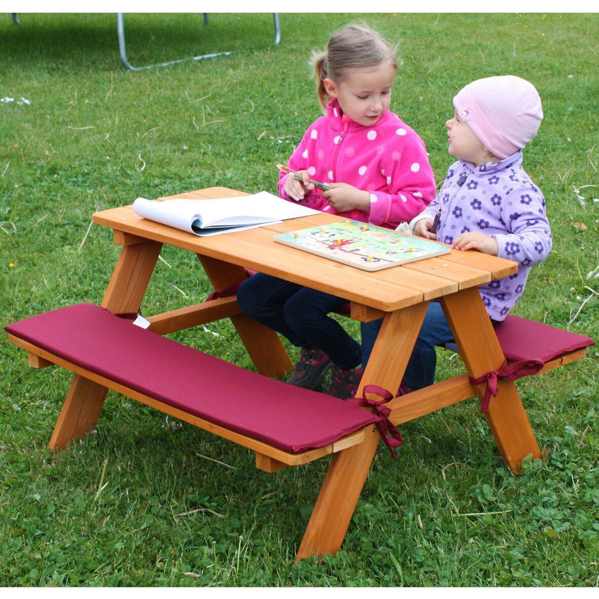 kinder sitzgruppe picknickbank habau mit polsterauflage 89x79x50cm bei. Black Bedroom Furniture Sets. Home Design Ideas