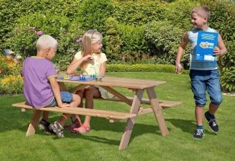 Kindersitzgruppe / Picknicktisch Lärche natur 116x90cm Bild 2