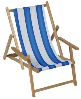 Sungörl Liegestuhl / Holz-Kinderliegestuhl mit Armlehnen blau / weiß Bild 1