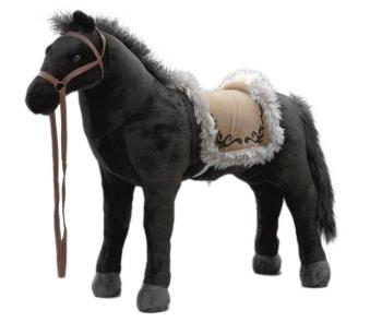 Plüschpferd schwarzes Pferd mit Sattel + Sound Happy People 58401 Bild 1