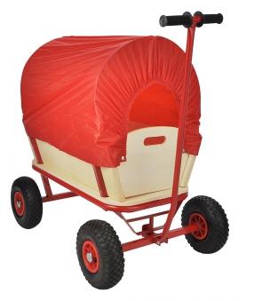Bollerwagen mit Regendach Holz 70x45x25 cm