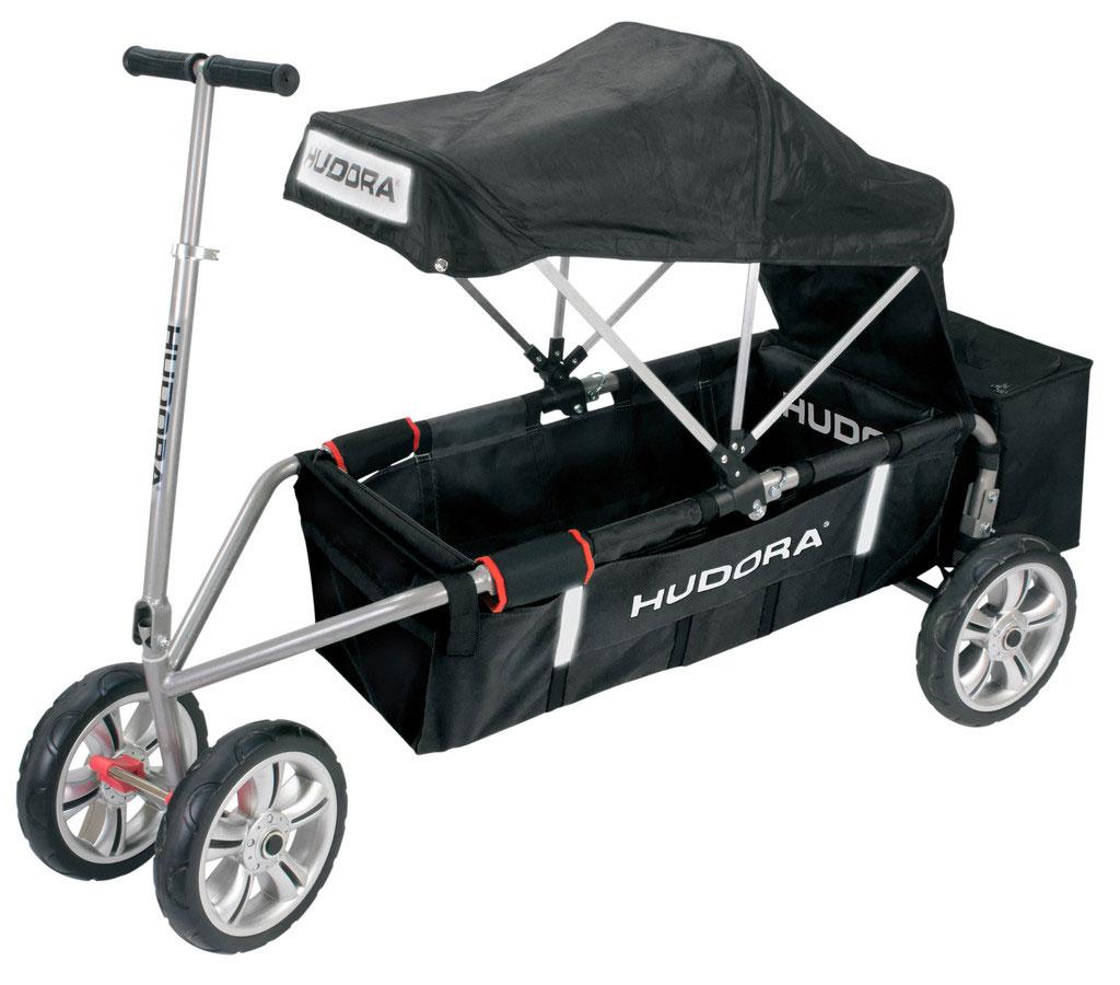 hudora bollerwagen faltbar berl nder schwarz dach alu 140x70x42cm bei. Black Bedroom Furniture Sets. Home Design Ideas
