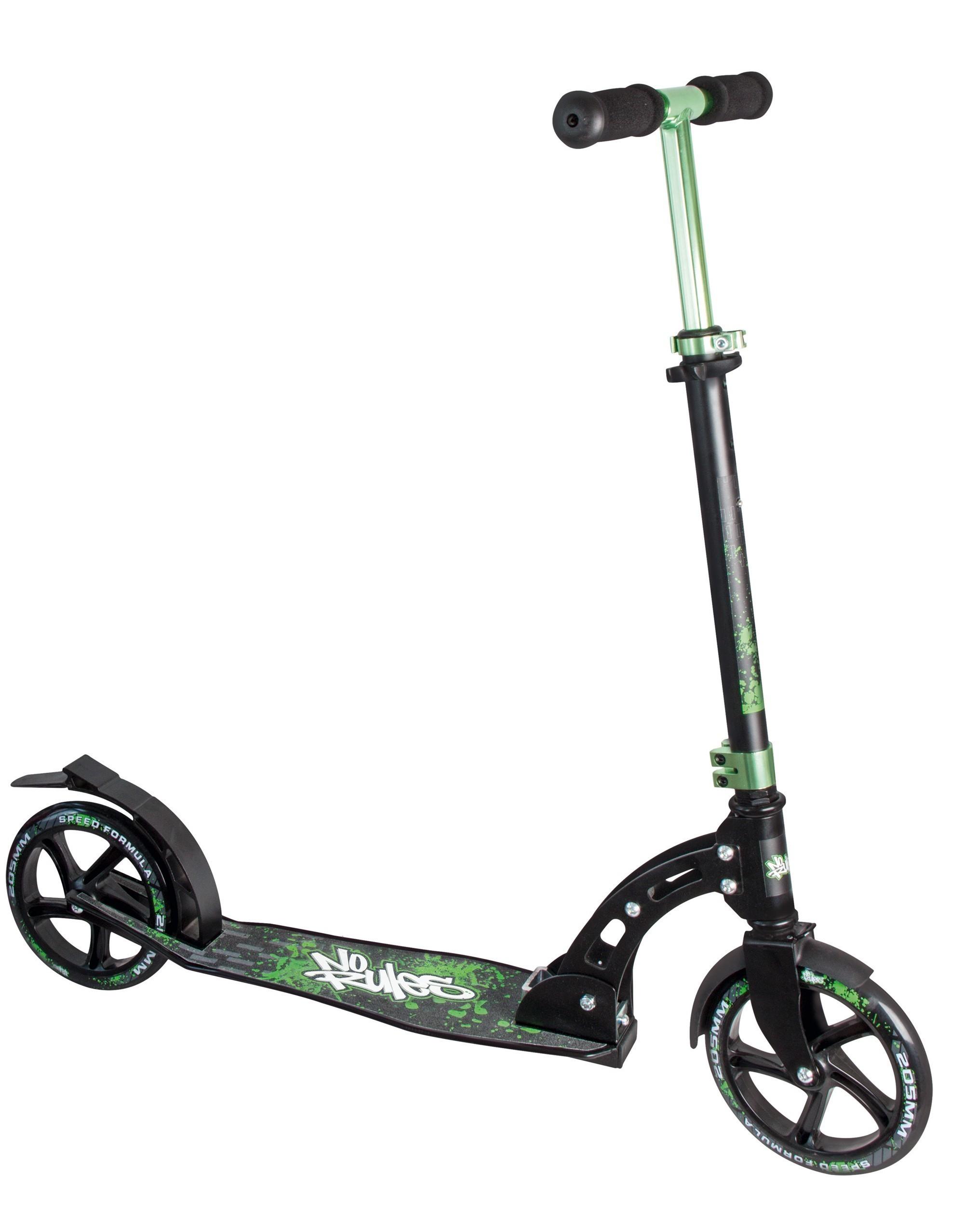 alu scooter cityroller no rules 205 schwarz gr n bei. Black Bedroom Furniture Sets. Home Design Ideas