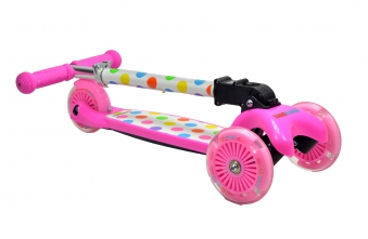 kiddimoto Scooter / Kinderroller U-Zoom Scooter klappbar Pastel Dotty Bild 3