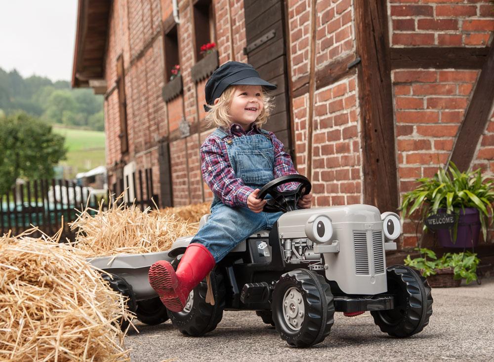 Trettraktor rolly Kid Little Grey Fergie mit Anhänger - Rolly Toys