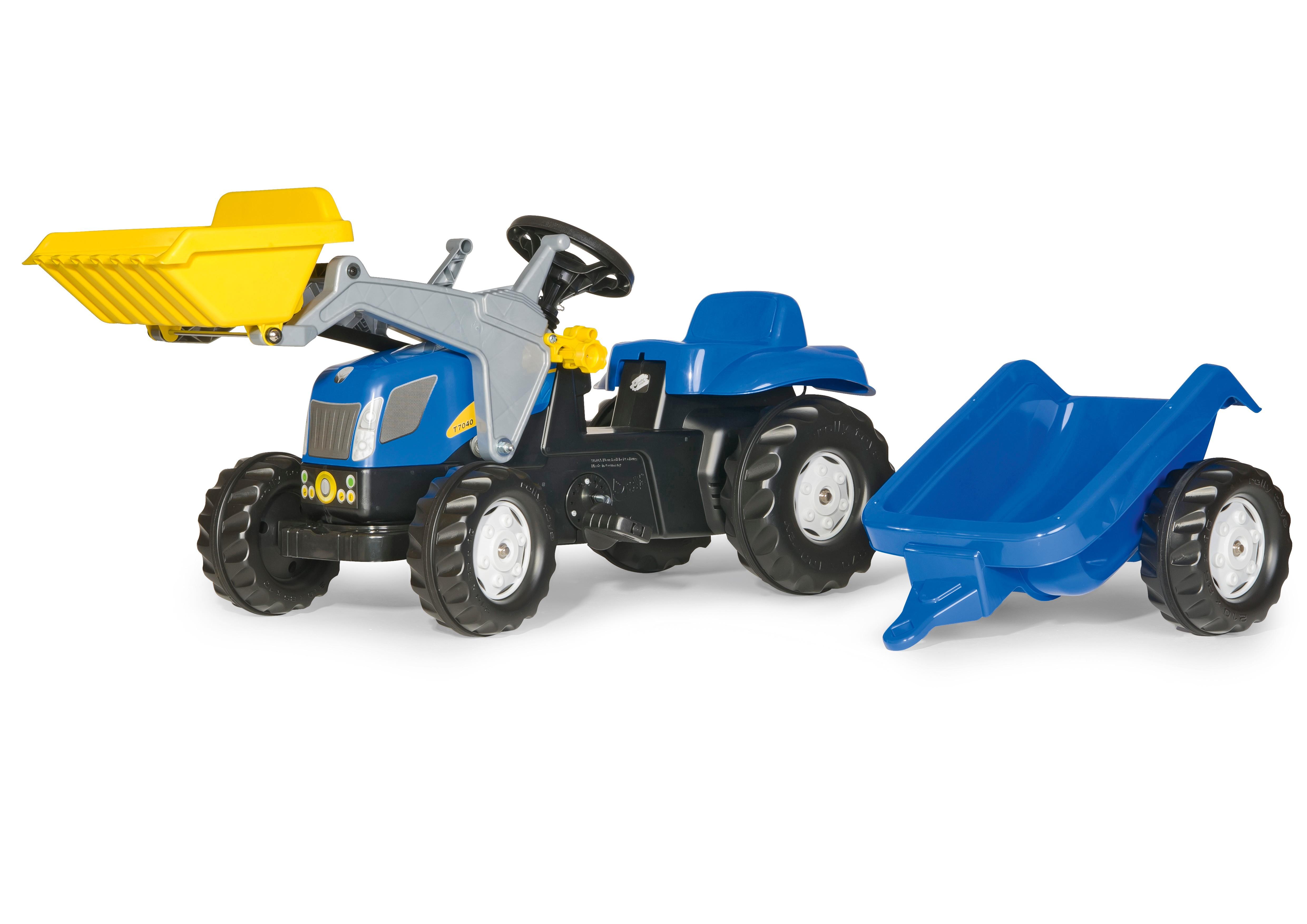 Trettraktor rolly Kid New Holland Frontlader + Anhänger - Rolly Toys Bild 1