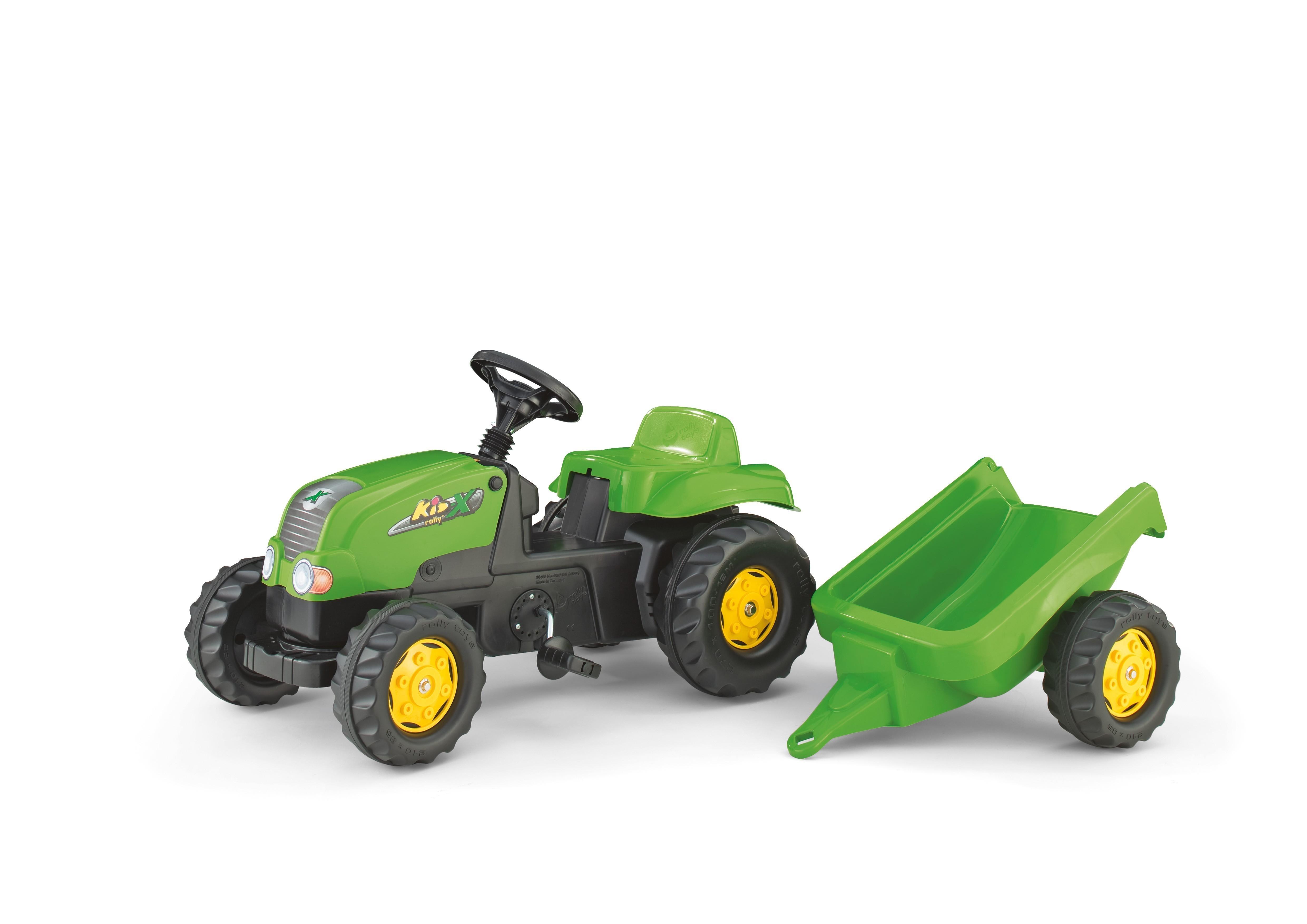 Trettraktor rolly Kid-X mit Anhänger grün - Rolly Toys Bild 1