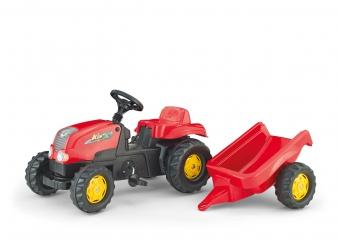 Trettraktor rolly Kid-X mit Anhänger rot - Rolly Toys Bild 1