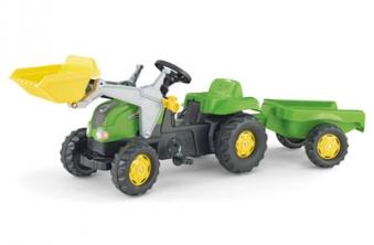 Trettraktor rolly Kid-X mit Frontlader + Anhänger grün - Rolly Toys Bild 1