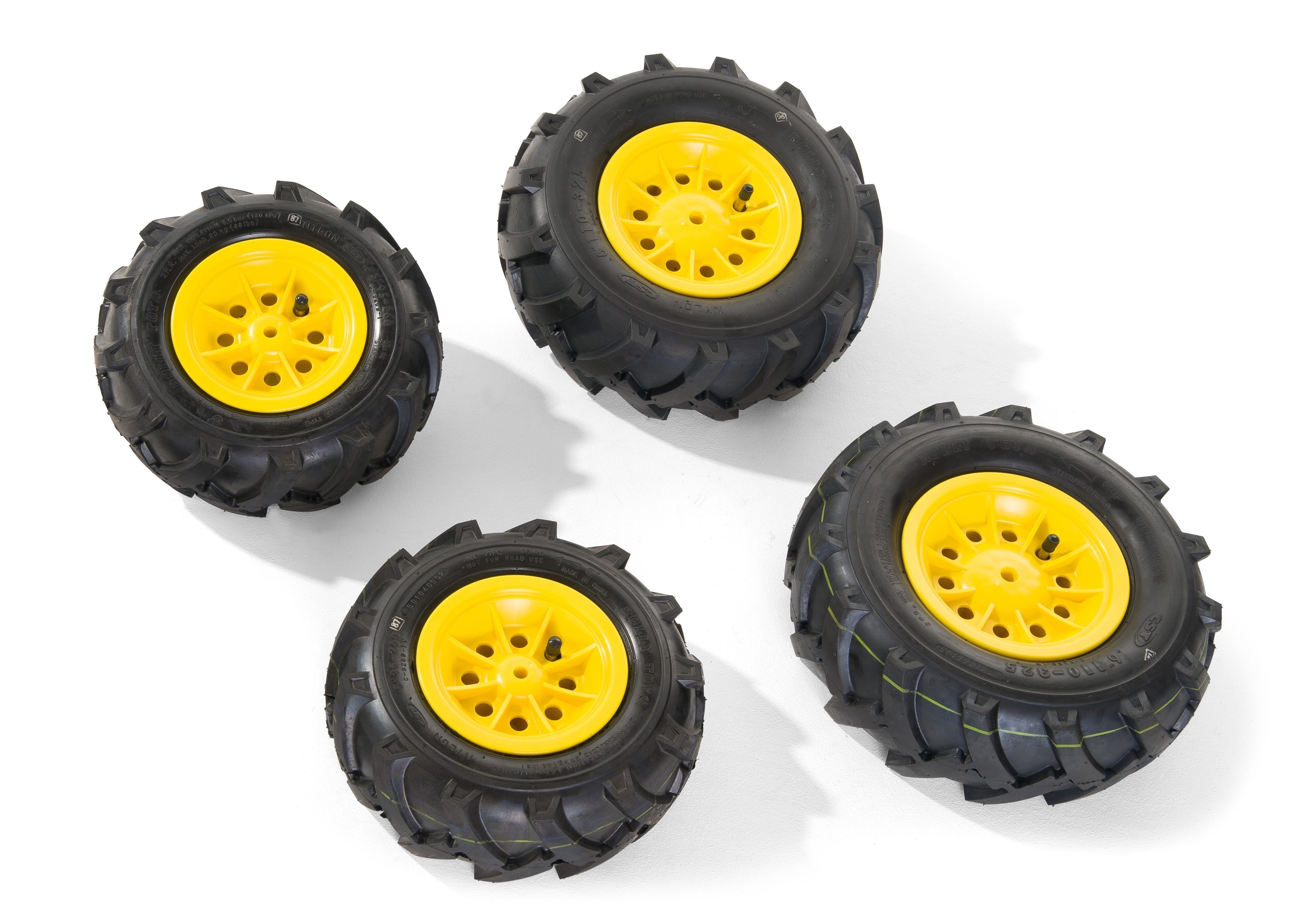 Räder rolly Luftbereifung für Tretfahrzeug 260x95 + 325x110 gelb Bild 1