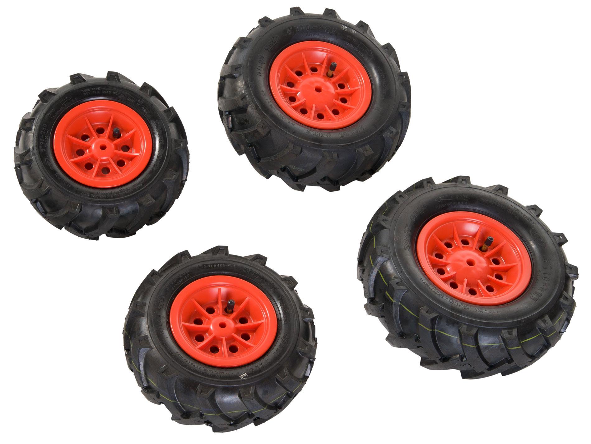Räder rolly Luftbereifung für Tretfahrzeug 260x95 + 325x110 rot Bild 1