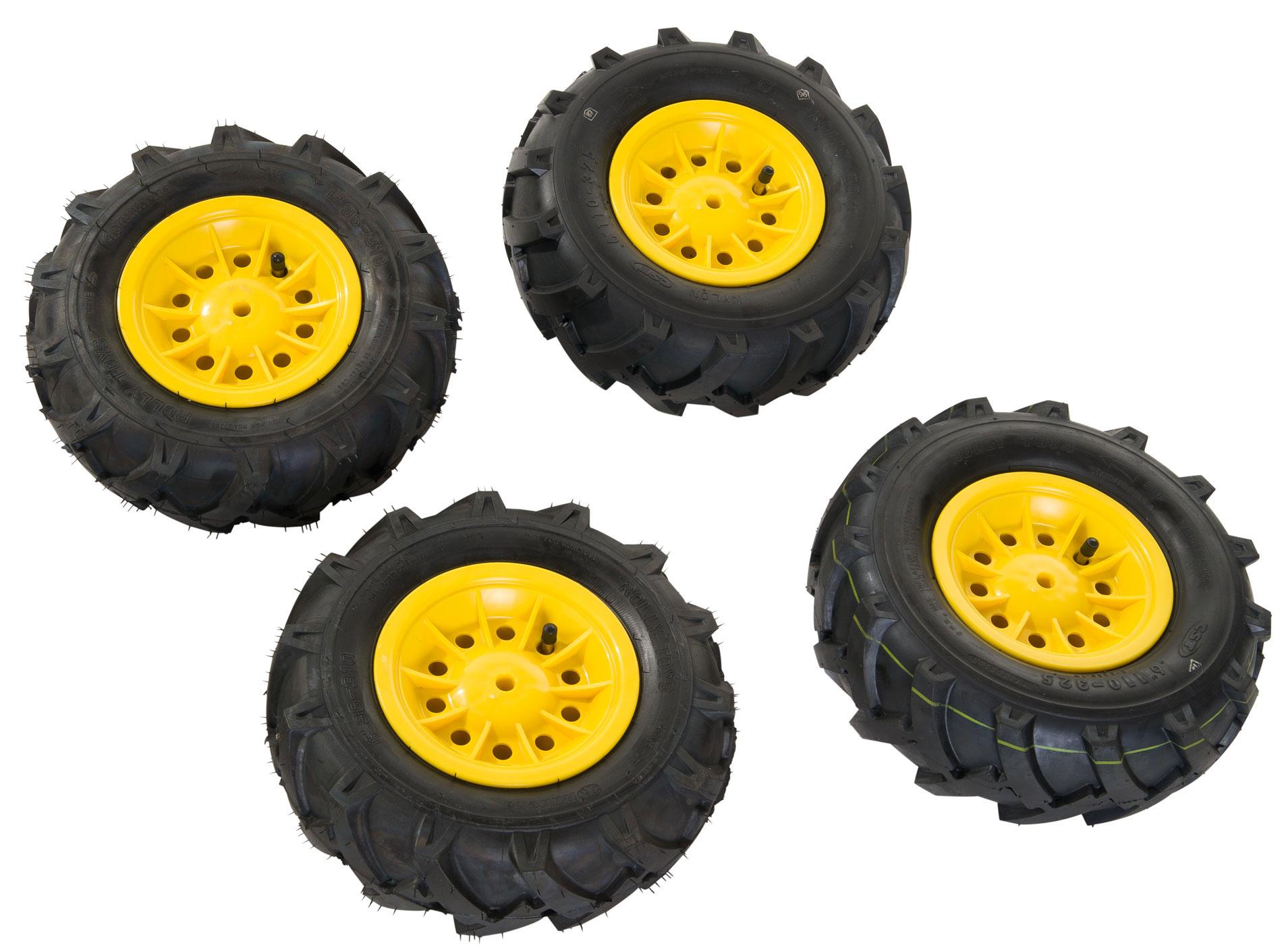 Räder rolly Luftbereifung für Tretfahrzeug 310x95 + 325x110 gelb Bild 1