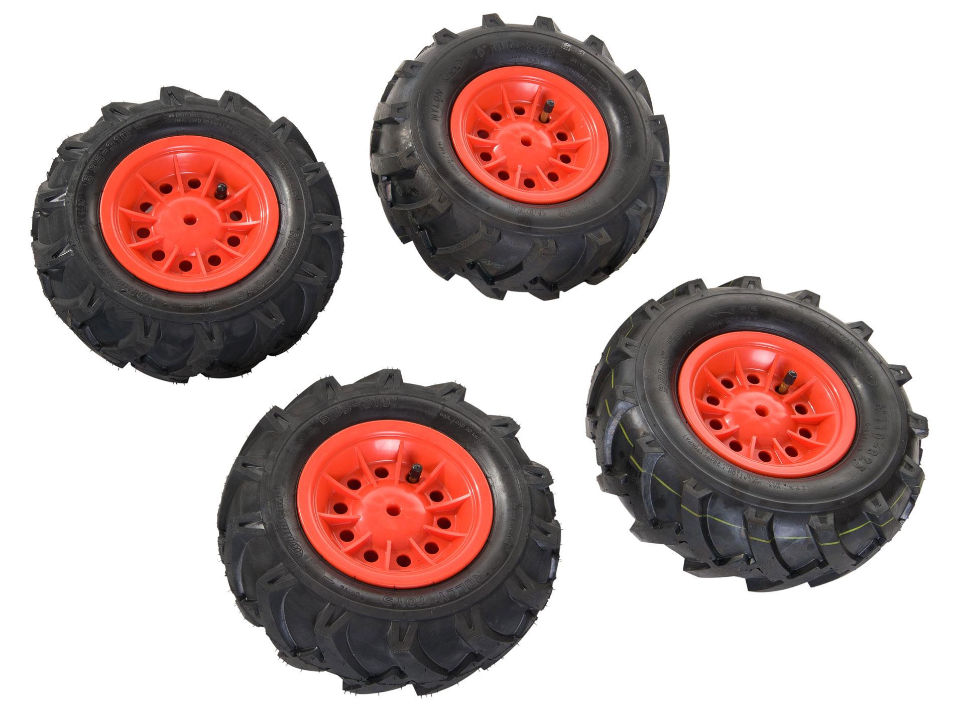 Räder rolly Luftbereifung für Tretfahrzeug 310x95 + 325x110 rot Bild 1