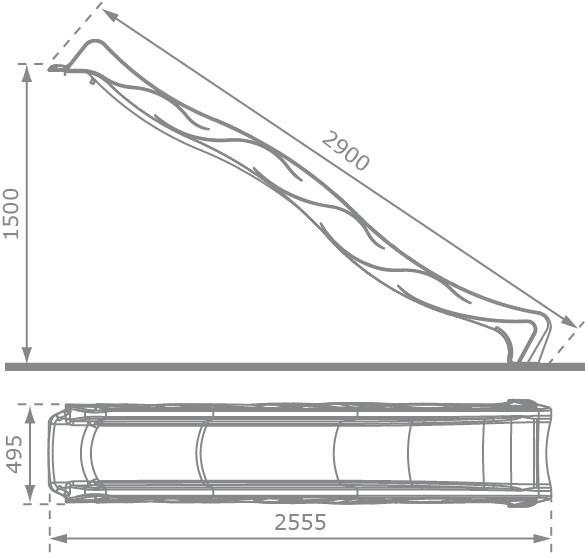 Wellenrutsche / Wasserrutsche / Rutsche Tsuri 1500mm türkis 2,90m Bild 2
