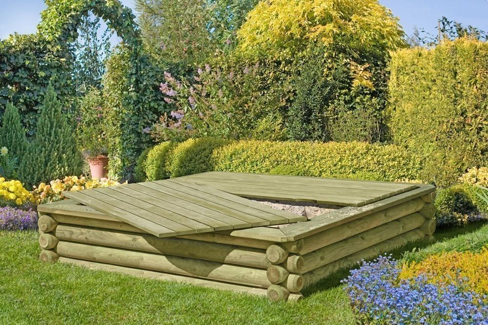 Holzabdeckung für Sandkasten 158x157x4cm Bild 2