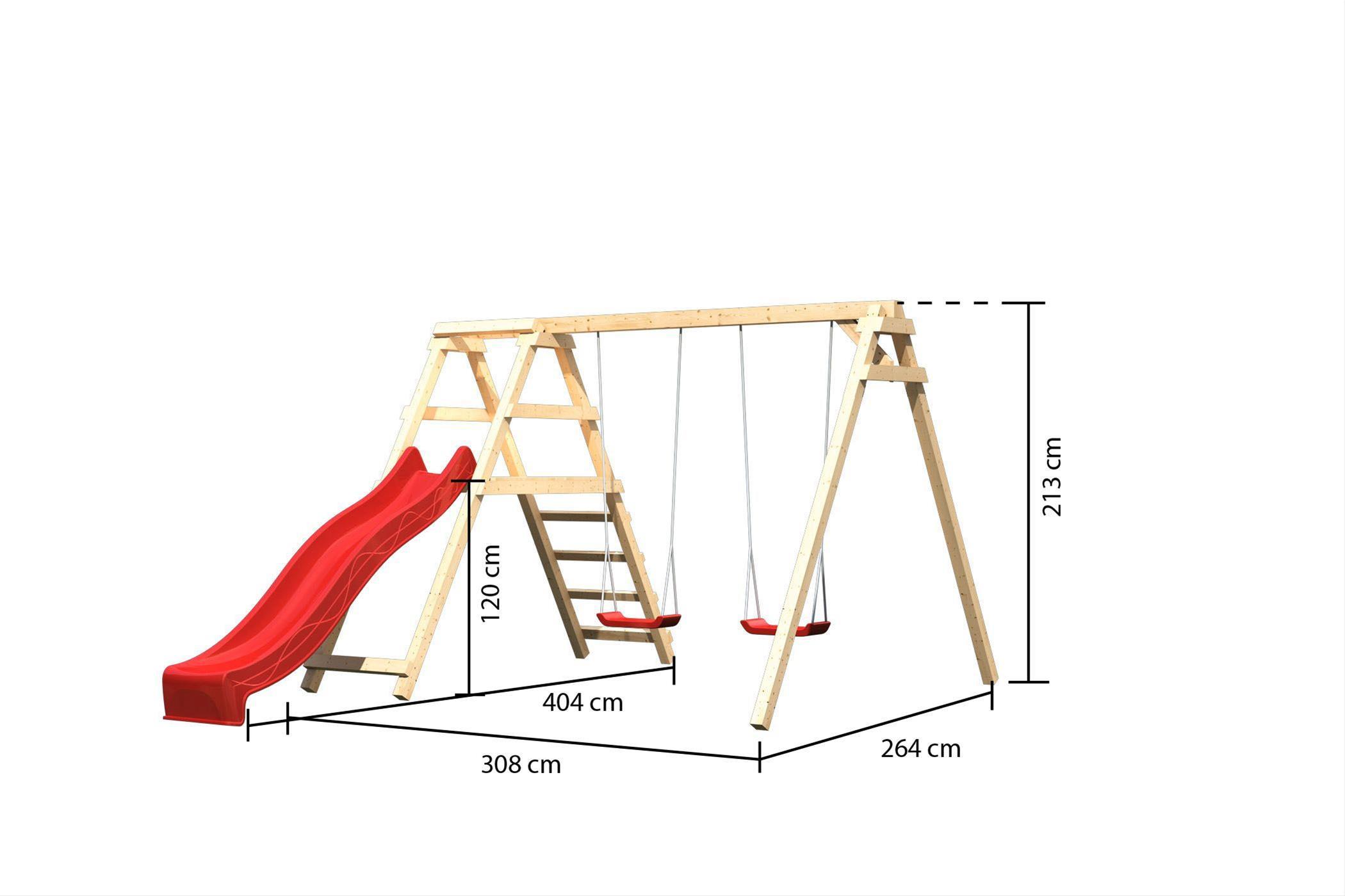 Klettergerüst Stahl : Doppelschaukel mit klettergerüst karibu akubi felix rutsche rot
