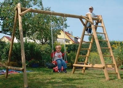 Einzel Holzschaukel / Kletterschaukel Otto Rundholz 300x190x205cm Bild 1