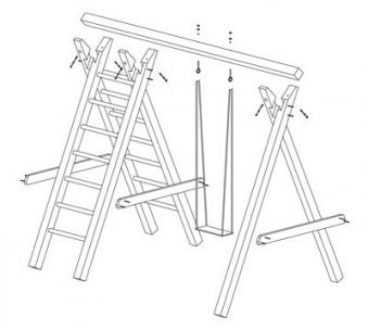 Einzel Holzschaukel / Kletterschaukel Premium 2.1 Kantholz B300xT190cm Bild 2