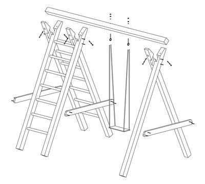 Einzel Holzschaukel / Kletterschaukel Premium 3.1 Kantholz B360xT190cm Bild 2