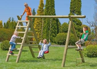 Einzel Holzschaukel / Kletterschaukel Premium 3.1 Kantholz B360xT190cm Bild 1