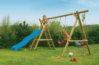 Spielanlage / Doppel Holzschaukel Classic 5.2 Rundholz B430xT190cm Bild 2