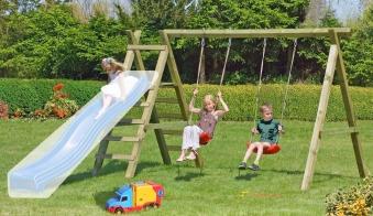 Spielanlage / Doppel Holzschaukel Premium 4.2 Kantholz B370xT190cm Bild 1