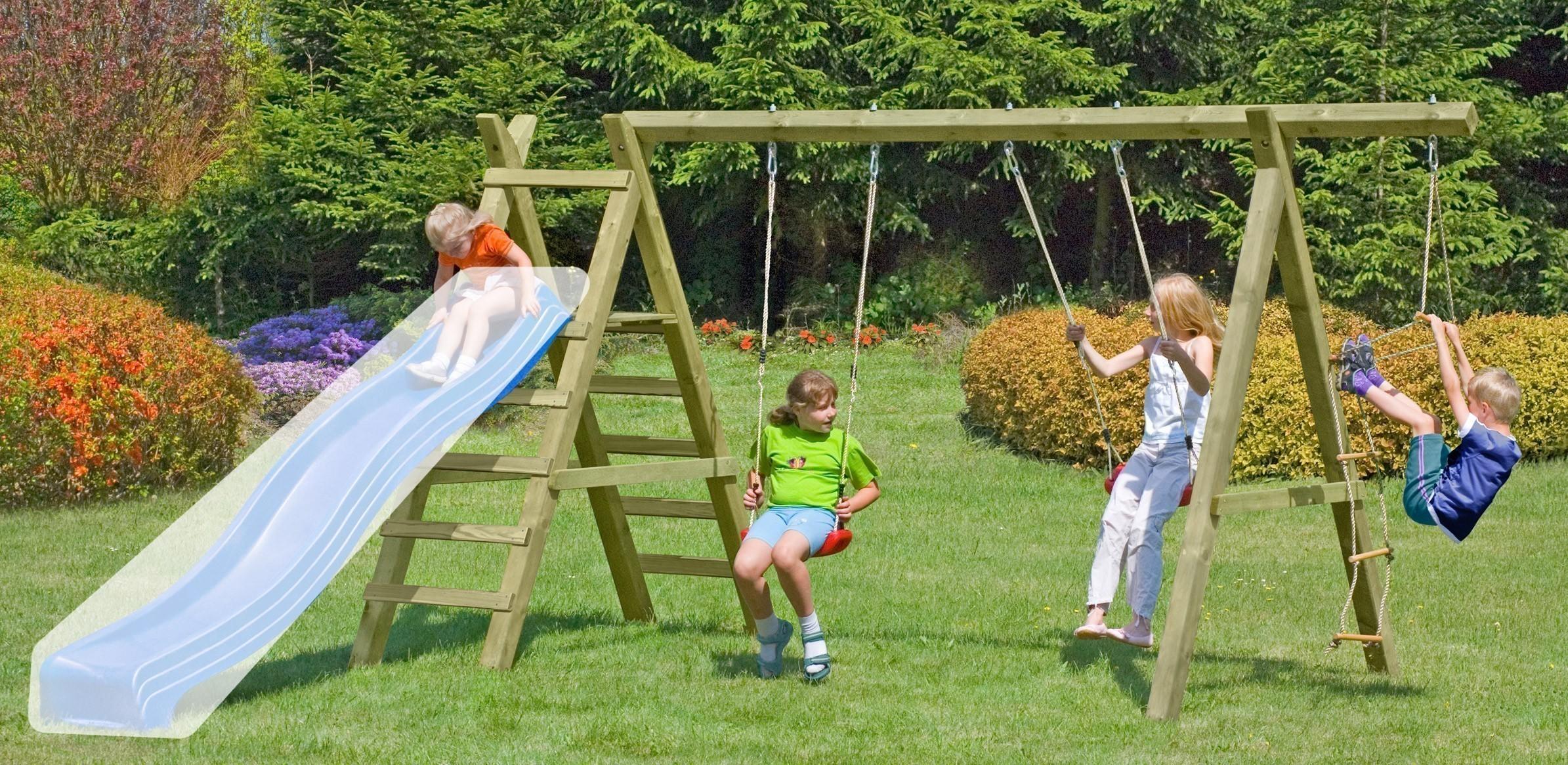 Spielanlage / Doppel Holzschaukel Premium 5.2 Kantholz B430xT190cm Bild 1