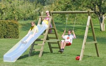 Spielanlage / Einzel Holzschaukel Premium 4.1 Kantholz B310xT190cm Bild 1