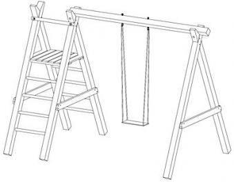 Spielanlage / Einzel Holzschaukel Premium 4.1 Kantholz B310xT190cm Bild 2