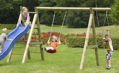 Spielanlage / Einzel Holzschaukel Premium 5.1 Kantholz B370xT190cm Bild 1