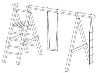 Spielanlage / Einzel Holzschaukel Premium 5.1 Kantholz B370xT190cm Bild 2