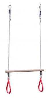 Ringtrapez Holz Multi Play mit Seil rot Bild 1