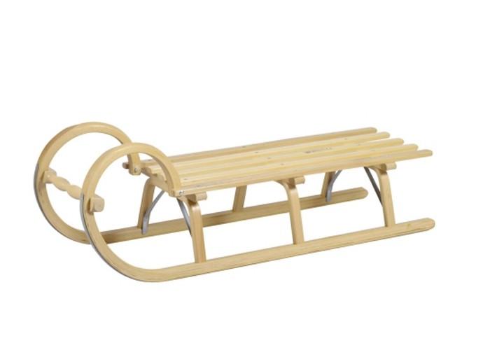 Holzschlitten / Hörnerrodel Ress mit Lattensitz 115 cm Bild 1