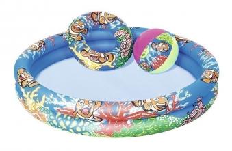 Planschbecken / Kinderpool Bestway Set Clownfish Ø122cm 3-teilig Bild 1