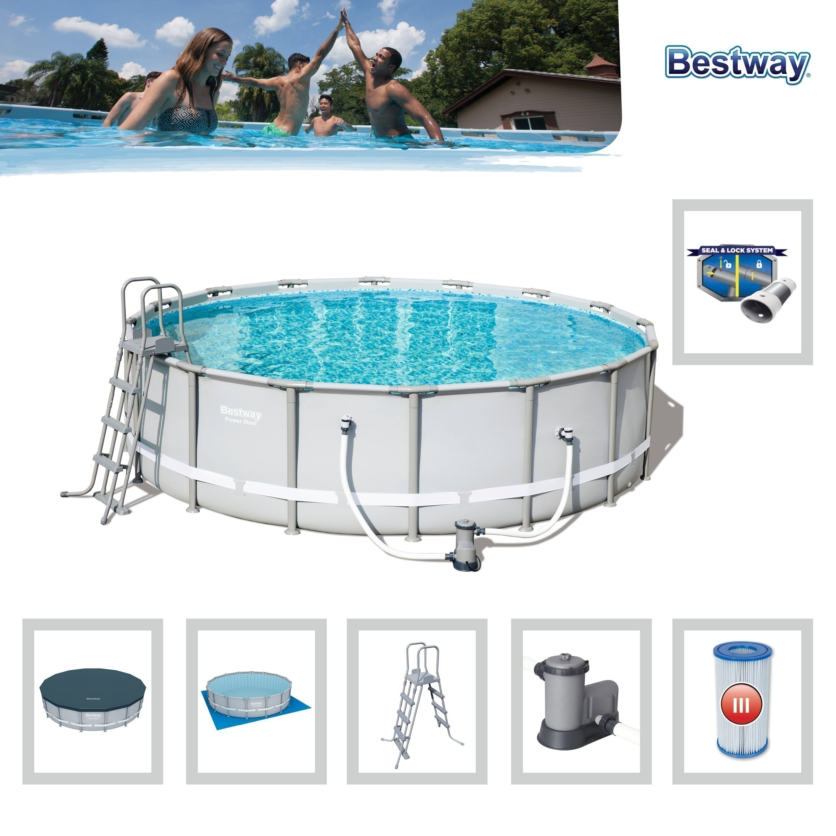 Pool / Frame Pool Bestway Power Steel Komplett-Set Ø 488x122cm Bild 2