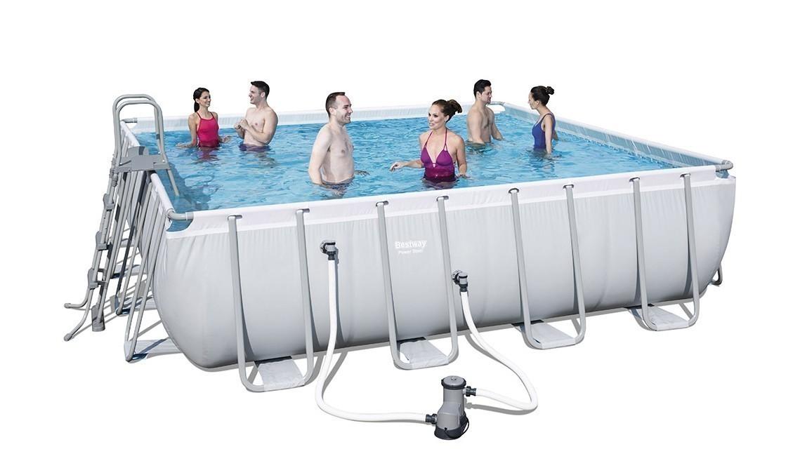 Pool / Frame Pool Bestway Power Steel Komplettset grau 488x488x122cm Bild 1