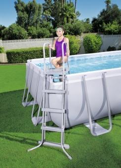 Pool / Frame Pool Bestway Power Steel Komplettset grau 488x488x122cm Bild 2