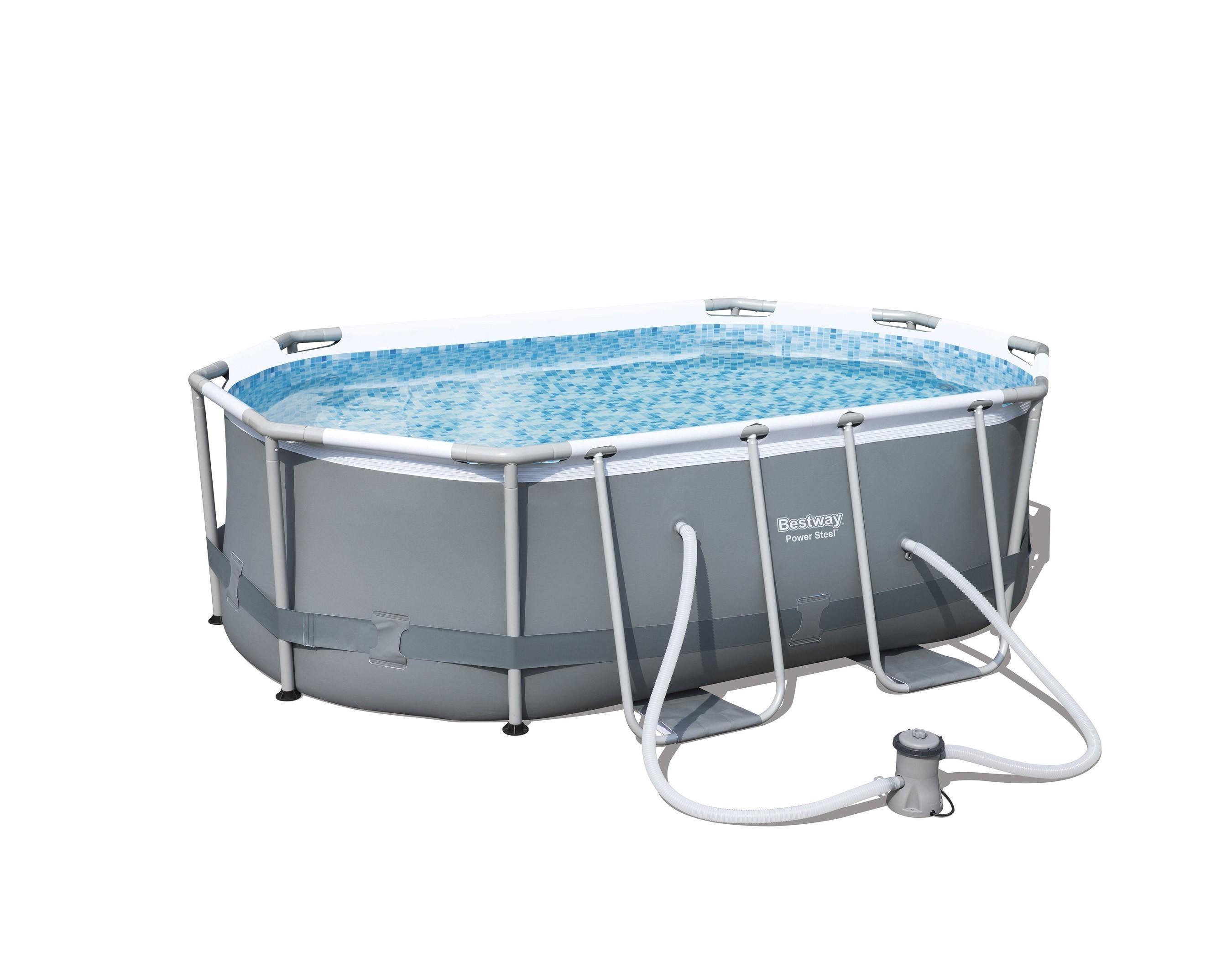 Pool / Frame Pool Bestway Power Steel Oval Set Filterpumpe 300x200x84 Bild 1