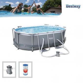Pool / Frame Pool Bestway Power Steel Oval Set Filterpumpe 300x200x84 Bild 2