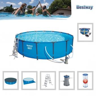 Pool / Frame Pool Bestway Steel Pro Max Komplett-Set  Ø 457x107cm Bild 1