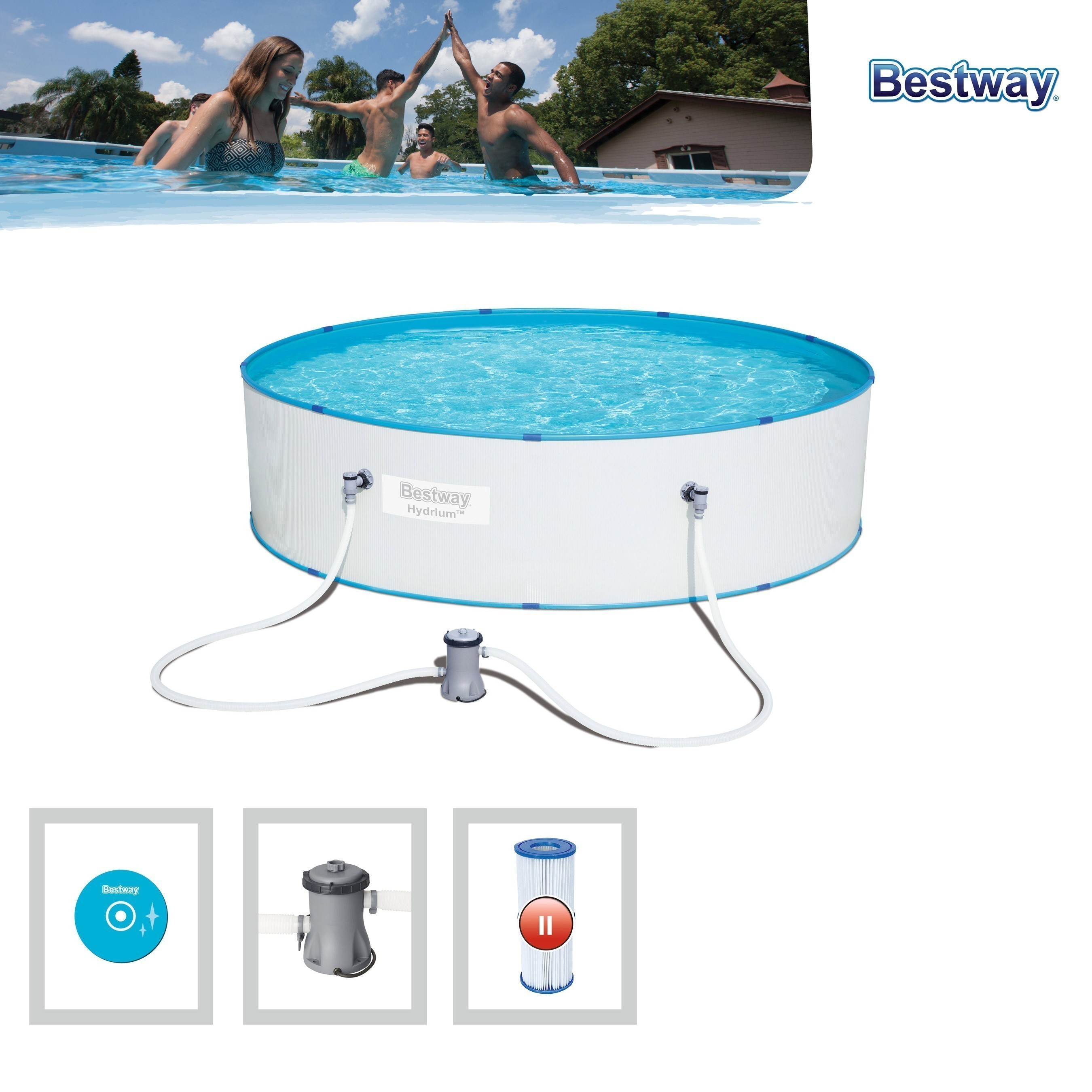 Pool / Stahlwandpool Bestway Hydrium Splasher Set Filterpumpe Ø330x84 Bild 2