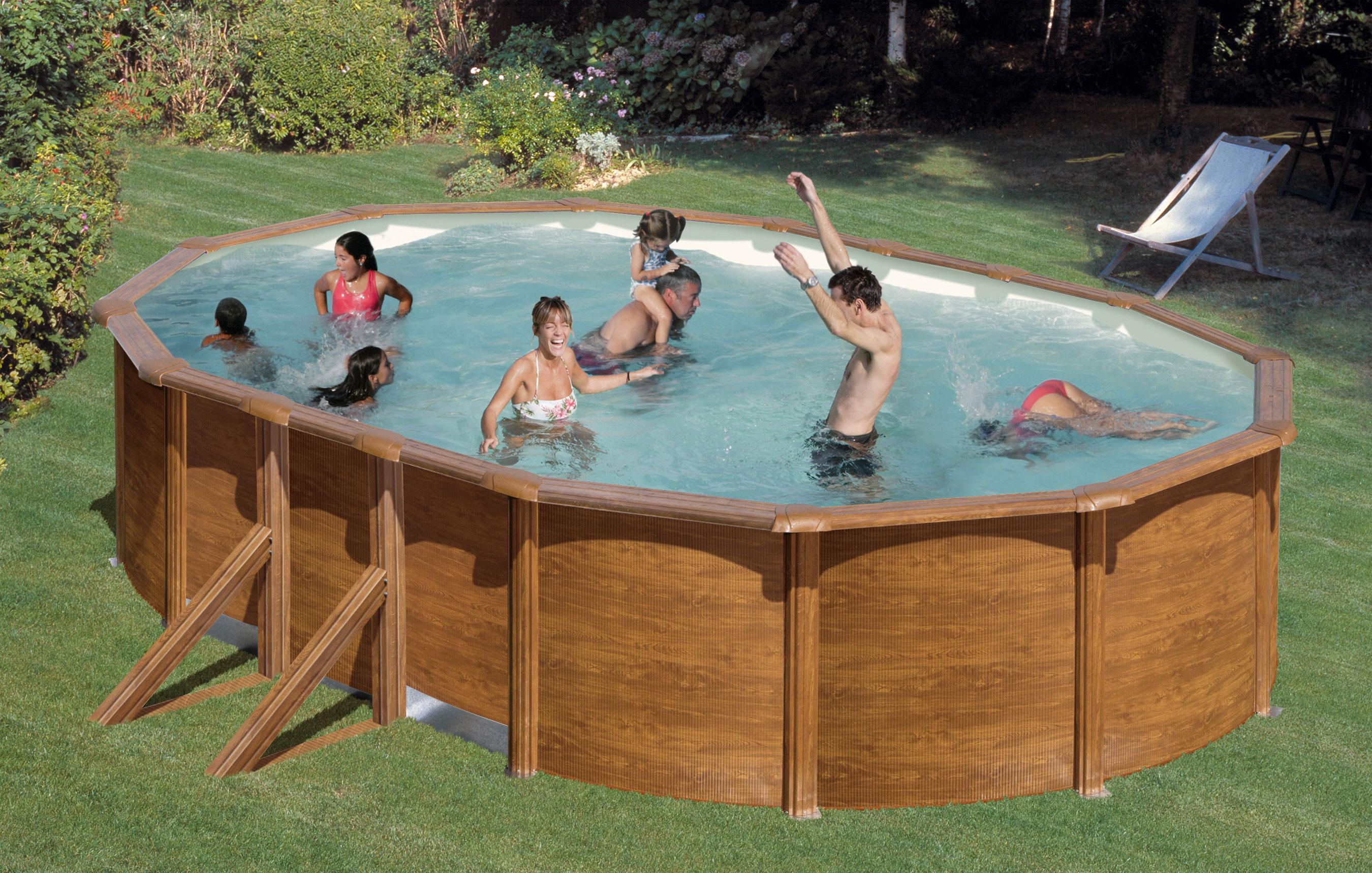 Pool / Stahlwandpool Set myPool Feeling Holzoptik oval 610x375x120cm Bild 1